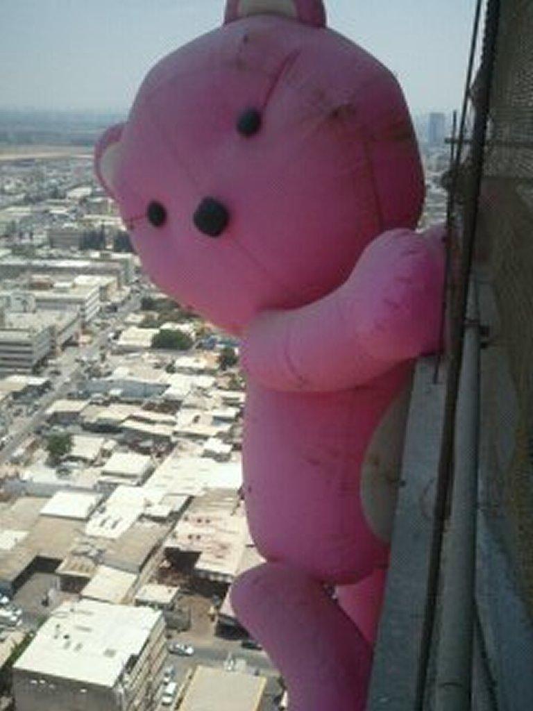 תליית דובי ענק על בניין